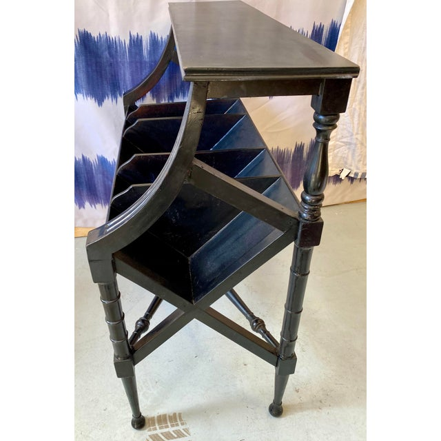 Vintage Distressed Black Open Storage French Console Table Wood For Sale - Image 4 of 12