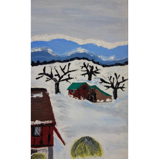 1960s Framed Folk Art Winter Homestead Painting For Sale - Image 5 of 9