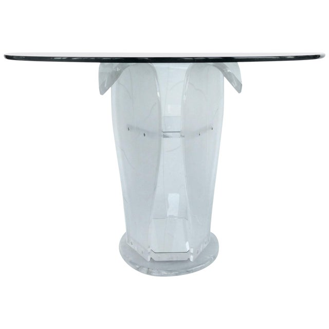Round Lucite Pedestal Table With Glass Top For Sale