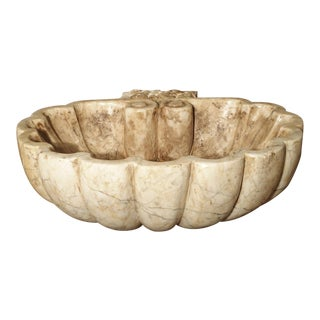 Carved Italian Breccia Marble Shell Form Sink For Sale