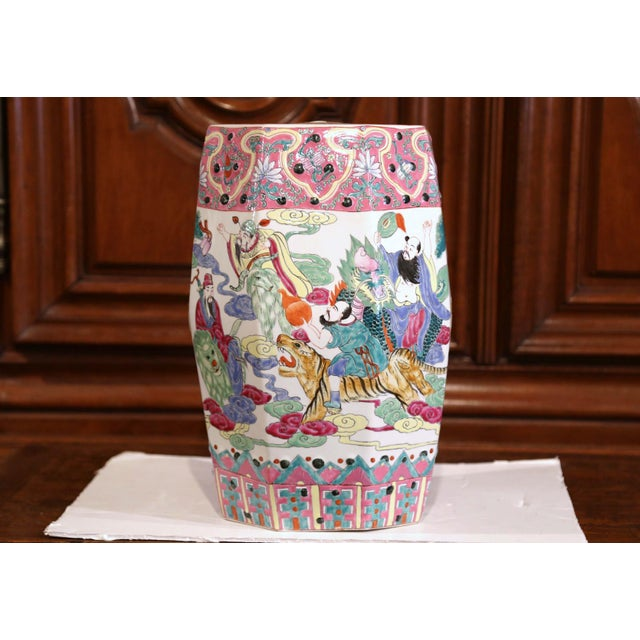 Mid 20th Century Mid-20th Century Chinese Famille Rose Garden Seat For Sale - Image 5 of 9
