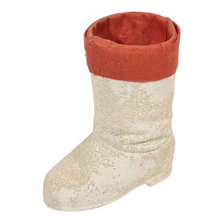 White Papier Mache Santa Boot For Sale