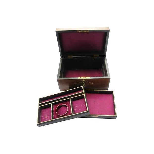 Antique English Wood & Brass Jewelry Box & Key - Image 4 of 5