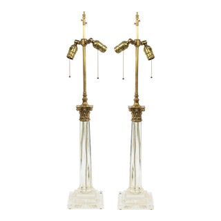 English Georgian Crystal Column Table Lamps For Sale