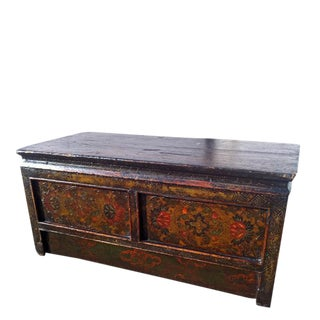 One Drawer Pine Tibetan Accent Table
