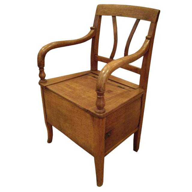 19th C. French Walnut Potty Chair For Sale