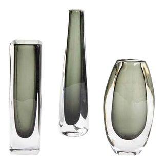 Vintage Nils Landsberg The Dusk Series Orrefors Sommerso Glass Vases - Set of 3 For Sale