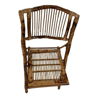 Burnished Natural Bamboo Folding Chairs- Set of Four For Sale