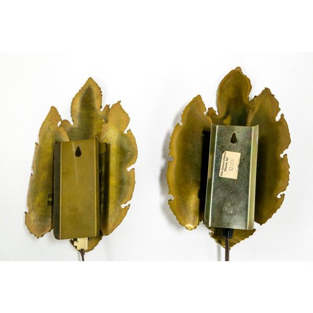 Brutalist Brass Flame Leaf Sconces - a Pair For Sale - Image 10 of 11