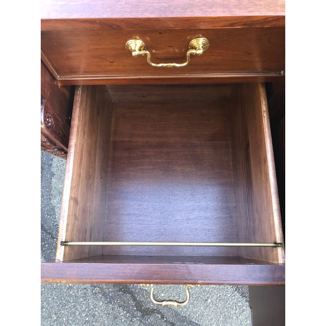 Mahogany Chippendale Style Double Pedestal Partners Desk For Sale In Philadelphia - Image 6 of 12