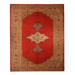 "Antique Sultanabad Red and Blue Wool Rug-12'x15"" For Sale"