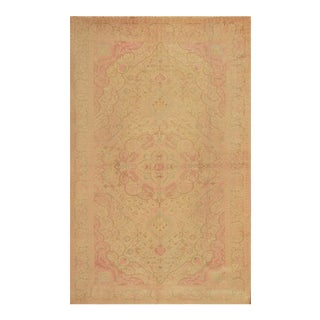 Antique Hand Knotted Pink Floral Sivas Rug - 6' X 9' For Sale