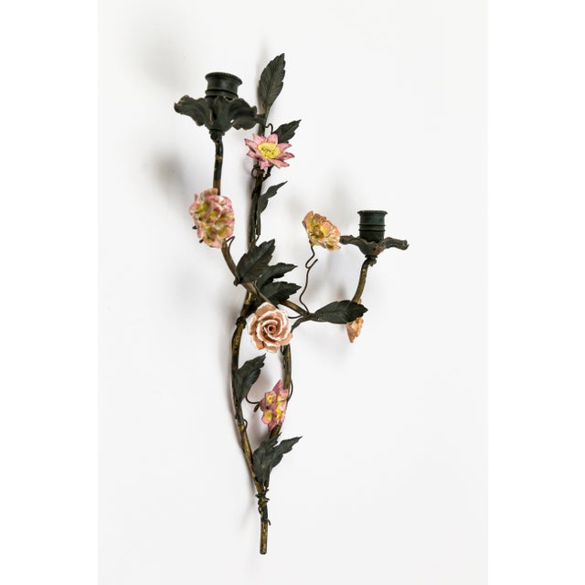 Tole and Porcelain Floral Wall Hanging Candle Holders - A Pair For Sale - Image 9 of 13
