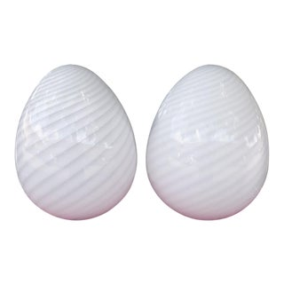 Late 20th Century Maestri Murano Italian White Glass Egg Lamps- A Pair For Sale