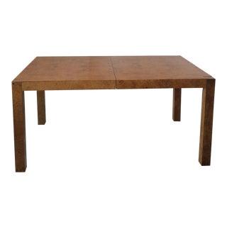 Mid-Century Modern Milo Baughman Dining Room Burl Wood Table For Sale