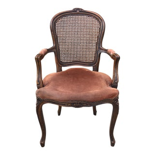 Antique Louis XV Style Cane Back Carved Wood Bergere Chair For Sale