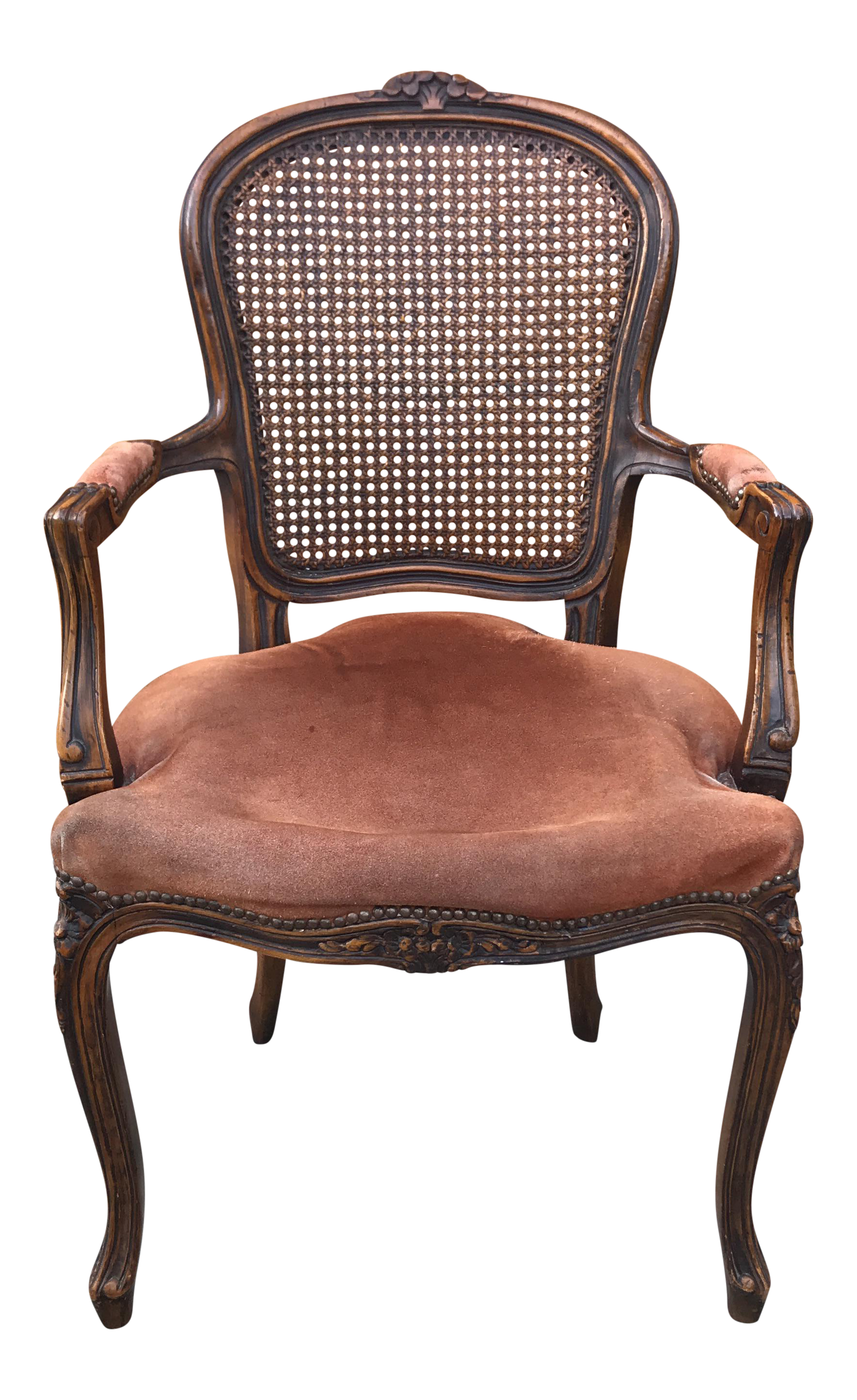 Antique Louis XV Style Cane Back Carved Wood Bergere Chair   Image 1 Of 12
