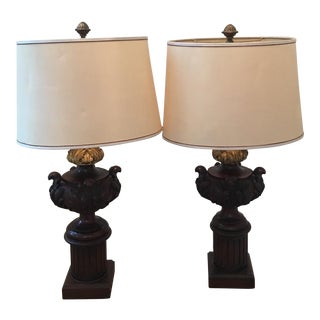 19th Century Carved Wooden and Gilt Bronze Architectural Element Lamps With Shade - a Pair For Sale