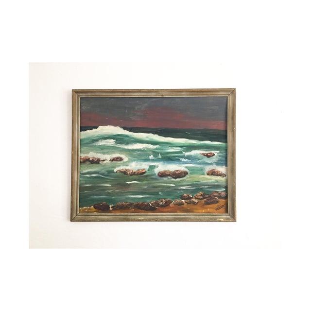 Large Vintage Ocean Landscape Oil Painting For Sale In San Francisco - Image 6 of 6