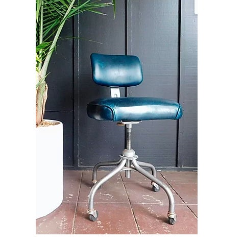 American 1950s Sapphire Leather Office Chair For Sale - Image 3 of 3