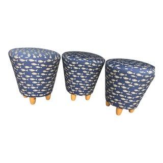 3-Three Legged Fish Patterned Stools - Set of 3