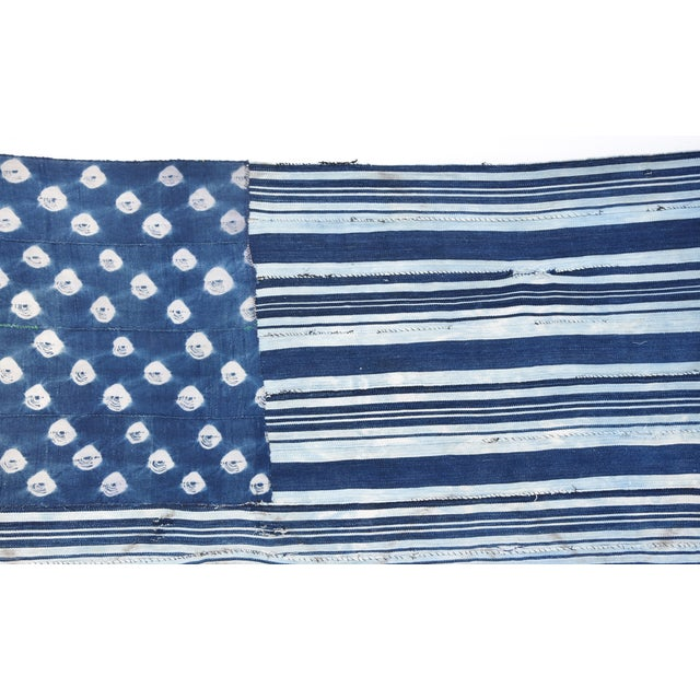 Custom Tailored Blue & White Flag Created From Vintage African Fabrics - Image 7 of 11