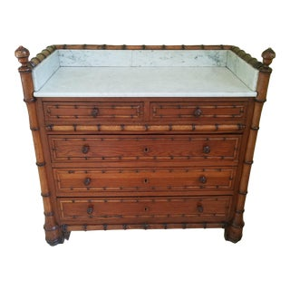 19th Century English Traditional Marble Top Bamboo Chest of Drawers For Sale
