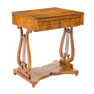 Antique German Burl Walnut Biedermeier Writing Desk Lyre Base Circa 1820