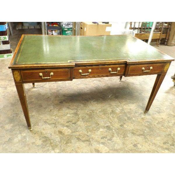Rare Vintage Original Leather Top Partner / Writing Desk For Sale - Image 6 of 6
