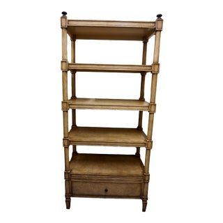 Kreiss Faux Leather Greek Key Etagere