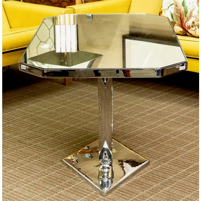 Elegant modernist style French side table attributed to Jacques Adnet dating from the late 1940s / early 1950s. Nickel...