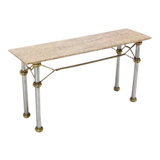 Mid-Century Modern Solid Brass Rope & Marble-Top Console Table For Sale