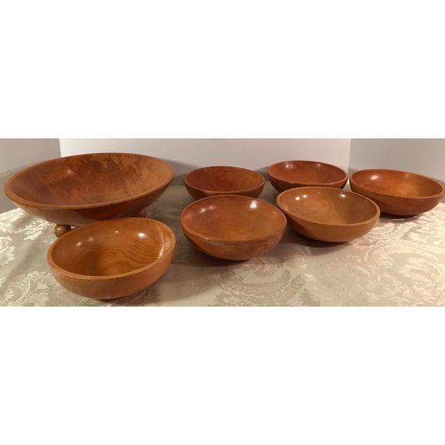 Mid-Century Modern Wooden Salad Bowls - Set of 7 - Image 2 of 11