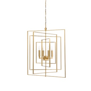 Brass Cube Chandelier For Sale