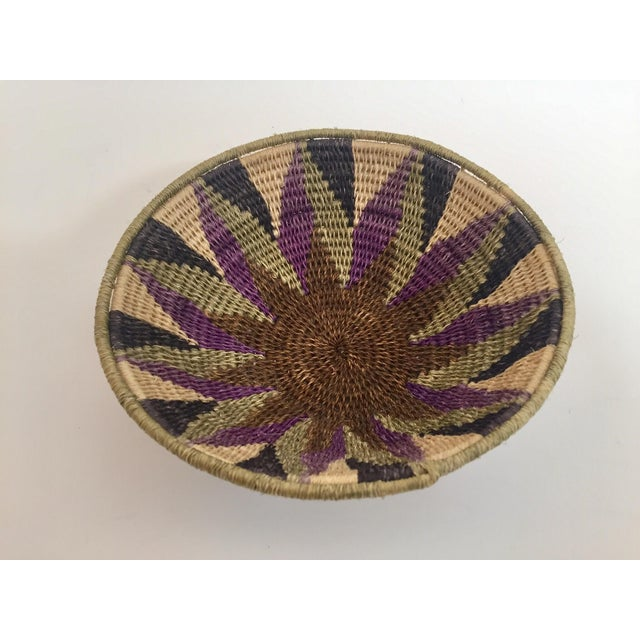 Silk Native American Polychrome Seagrass and Silk Woven Basket For Sale - Image 7 of 12