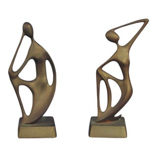 1955 Mid-Century Modern Solid Brass Figurines - Set of 2 For Sale