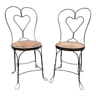 Antique Japanned Copper Wire Ice Cream Store Chairs - a Pair For Sale