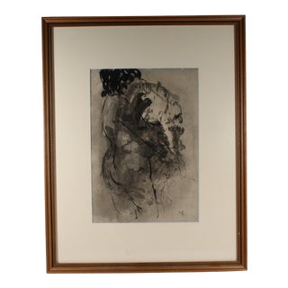 1960s Mario Russo Signed Ink Painting of Two Figures For Sale