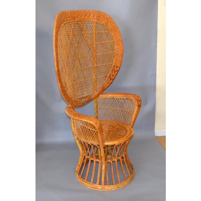Vintage Boho Chic Handcrafted Wicker, Rattan and Reed Peacock High Back Chair For Sale - Image 11 of 13