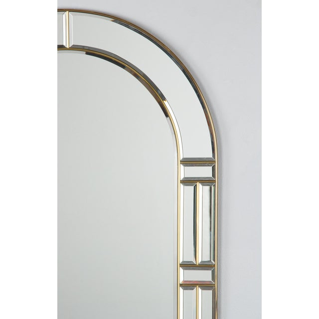 Modern 1970s Italian Beveled Glass Mirror With Brass Frame For Sale - Image 3 of 13