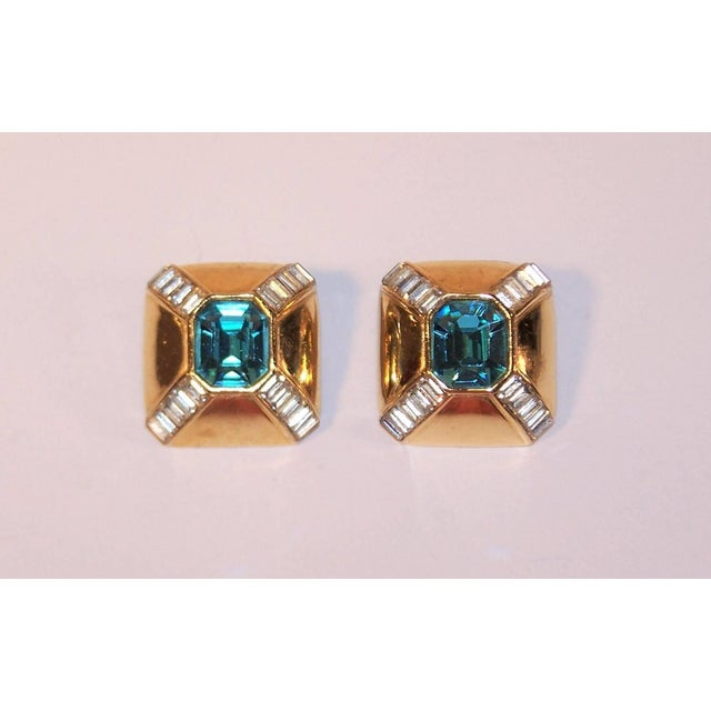 Ciner Art Deco Style 1980s Ciner Aquamarine Rhinestone Gold Tone Earrings For Sale - Image 4 of 7