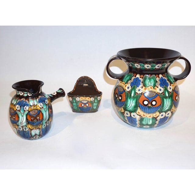 Antique Swiss Arts & Crafts Thoune Majolica Vase, Jug and Holder - 3 Pc. Set For Sale - Image 9 of 10