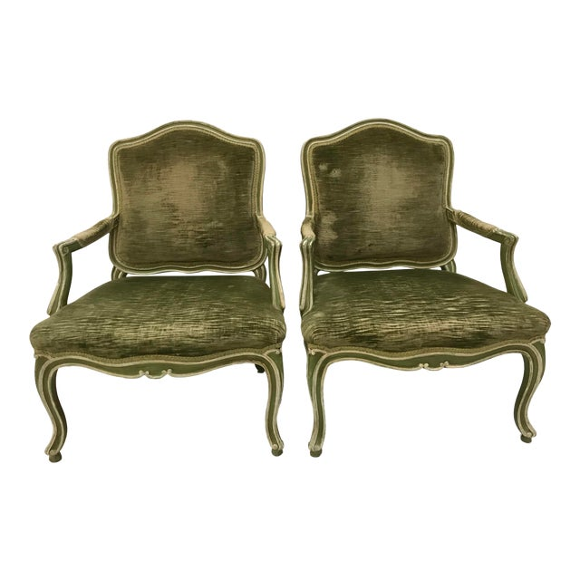 Vintage Louis XV Revival Green Velvet Bergere Chairs Cabriole Leg Scroll Foot Painted Mahogany Country French - a Pair For Sale