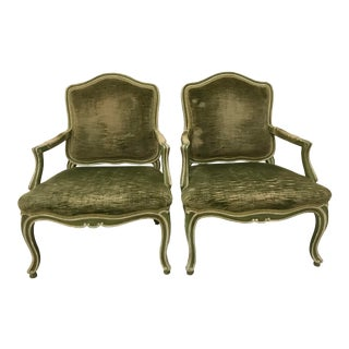 Vintage Louis XV Revival Green Velvet Bergere Chairs Scroll Foot Painted Mahogany - a Pair For Sale