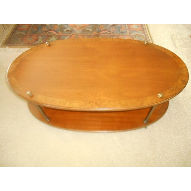 Mid-Century Modern Vintage Brandt Burl Wood Inlay Oval Coffee Table For Sale - Image 3 of 7