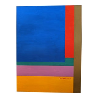 Mid-Century Geometric Acrilic on Canvas by Larry Kessler. For Sale