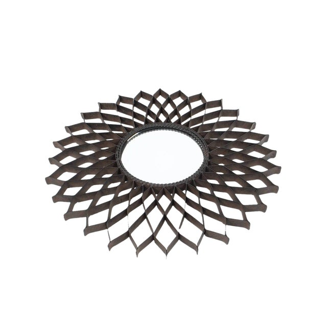 Set of Three French Iron Sun Mirrors For Sale