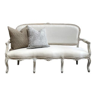 Vintage Painted and Upholstered Louis XV Style Open Arm Sofa Settee For Sale