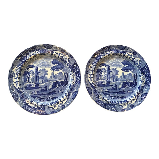Antique Spode Italian Blue & White Transferware Plates - A Pair - Image 1 of 8