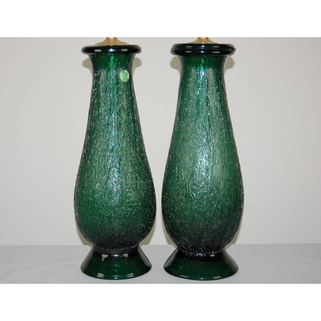 Aluminum Vintage Murano Glass Table Lamps Green For Sale - Image 7 of 9